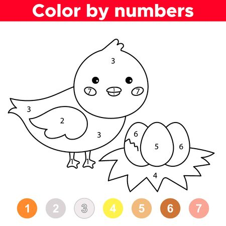 Color by numbers. Cute cartoon duck with eggs. Coloring book for preschool children. Educational game. Vektorové ilustrace