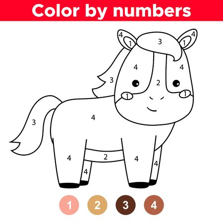 Educational game for preschool kids. Cute kawaii horse. Farm animals. Coloring page by numbers. Ilustração