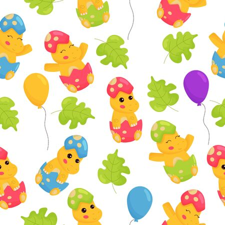 Childish seamless pattern for nursery. Cartoon kawaii baby dinosaur in egg. First birthday, newborn. Balloons and leaves.