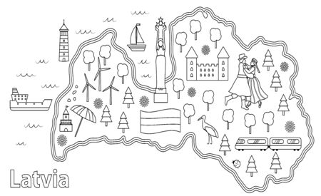 Coloring page for children. Travel map of Latvia. Latvian flag and symbols, animals and infrastructure. Black and white illustration.