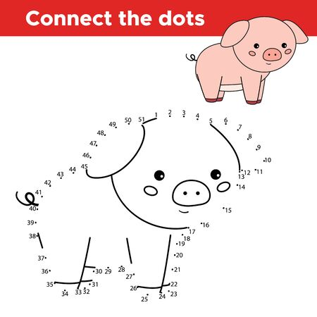 Dot to dot game for children. Cute cartoon kawaii pig. Animals of farm. Learn numbers. Drawing animal. Educational worksheet.