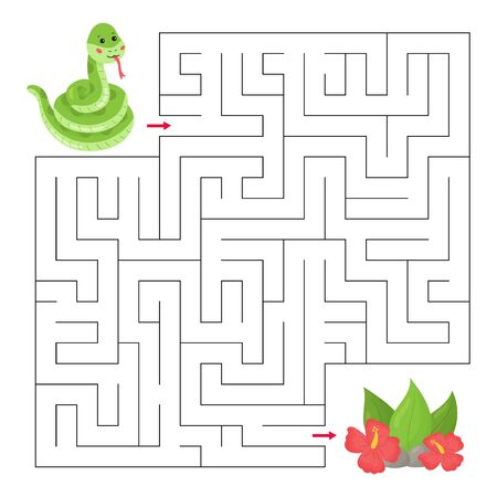 Labyrinth for children. Maze game with cute cartoon snake and tropical plants. Jungle animals. Educational worksheet. Ilustração