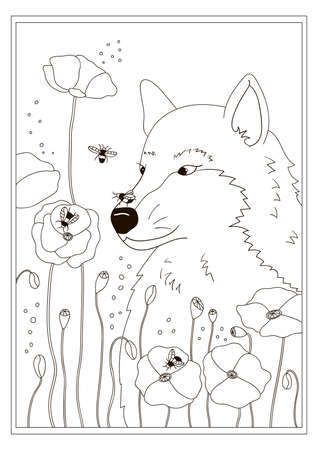 Coloring page for children and adults. Cute cartoon wolf, poppies flowers and bees. Black and white vector illustration. Outline.