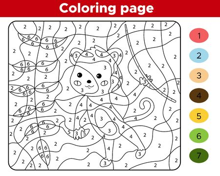 Number coloring page for children. Cute cartoon monkey. Jungle animals. Learn numbers and colors. Educational game.
