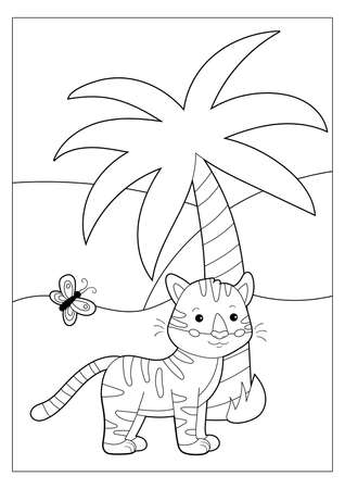 Coloring book or page for children. Cute cartoon kawaii tiger, palm tree and butterfly. Outline illustration. Black and white. Educational game for kids.