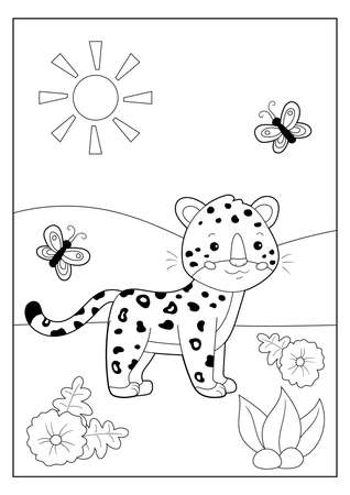 Coloring page or book for kids. Cute cartoon leopard with butterfly. Safari tropical animals. Vector character. Educational game. Çizim