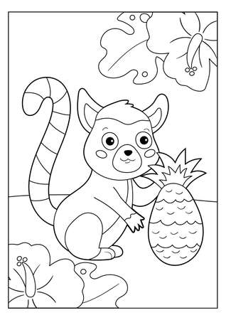 Coloring page for children. Cute cartoon lemur with pineapple. Jungle animals. Educational game. Vector illustration. Çizim