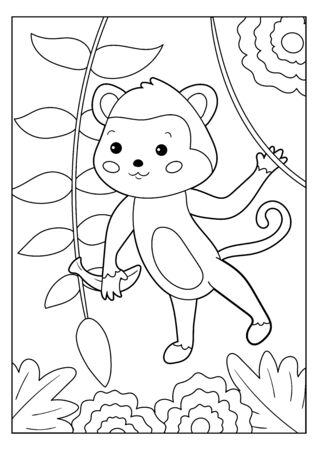 Educational game. Coloring page for children. Kawaii cartoon monkey with banana. Jungle animals.