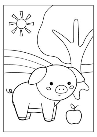 Coloring page for children. Farm animals. Cute cartoon pig with apple. Educational game. Ilustracja
