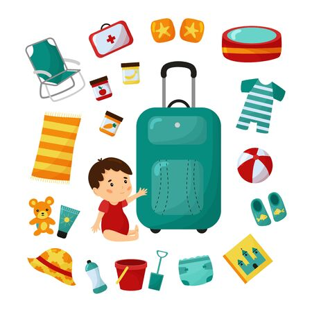 Travel suitcase with baby. Trip to beach with toddler. Checklist essentials. Cartoon character. Isolated on white background.