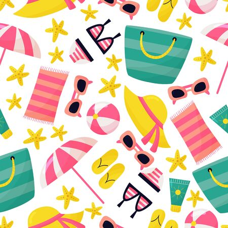 Holiday vector seamless pattern. Cute cartoon beach accessories: sunglasses, beach bag, starfish, sun cream, swimwear and flip flops. Summer vacation.