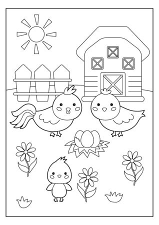 Educational game for kids. Cartoon coloring page with hen and chicken. Farm animals. Vector illustration.