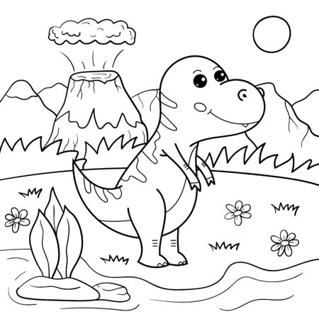 Coloring page for children. Outline cartoon Tyrannosaurus dinosaur vector character. Educational creative game.
