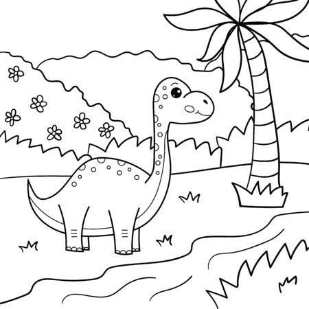 Coloring page for children. Cute cartoon kawaii Brachiosaurus. Vector dinosaur. Outline illustration.