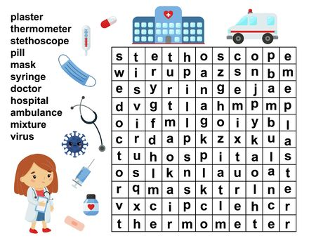 Educational word search game. Crossword for children. Healthcare and medicine tools. Printable worksheet.