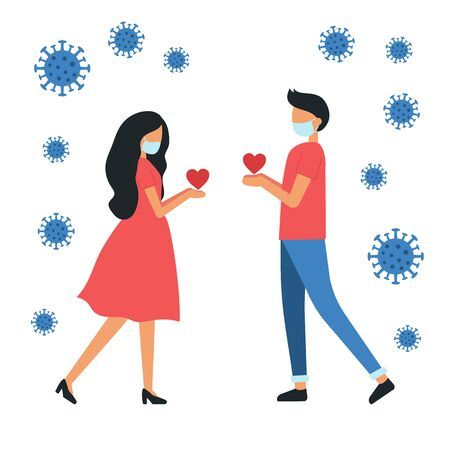 Love couple with medical face masks. oronavirus. Trendy flat vector illustration for dating site. 일러스트