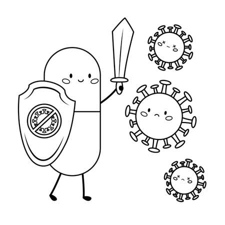 Coloring page for children. Cute kawaii pill with shield and sword against virus. Lets stop Coronavirus.