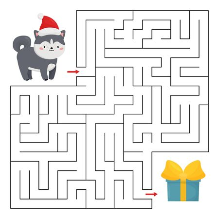 Educational maze game for kids. Help the cute husky dog find right way to the Christmas gift. Kawaii cartoon character.