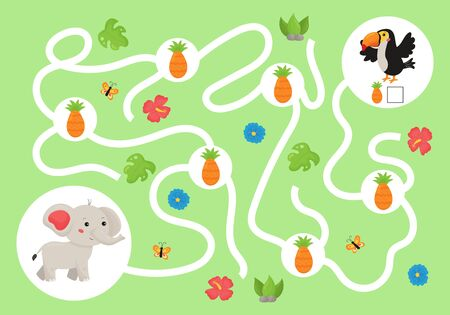 Help the elephant collect all pineapples for his friend toucan bird. Educational maze game for preschool children. Cute kawaii jungle animals. Count and write.
