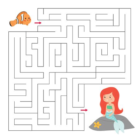 Maze game for preschool children. Help the clownfish find right way to his friend mermaid. Vector cartoon kawaii characters.