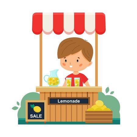 The boy sells lemonade. Sale lemons. Vector lemonade stand. First summer job. Cartoon character. Illustration for children.