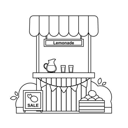 Outline lemonade stand. Black and white vector illustration. Sale lemons. Coloring book for children. Cold summer drinks. Vettoriali