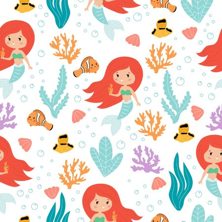 Cute kawaii mermaids seamless pattern on white background. Vector cartoon fish, coral reef and seaweeds. Ideal for children fabric, nursery and books. Illustration