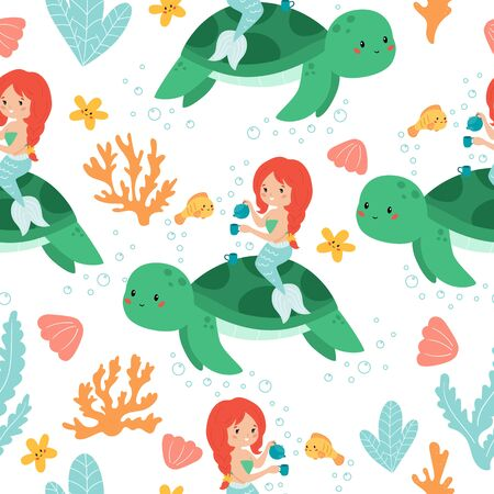 Vector seamless pattern of cute  mermaid with turtle. Tea time. Underwater illustration. Cartoon characters for children. Çizim