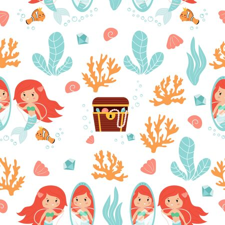 Vector seamless pattern of cute kawaii mermaid and treasure chest. Hand drawn coral reef and seaweeds. Underwater illustration for children.