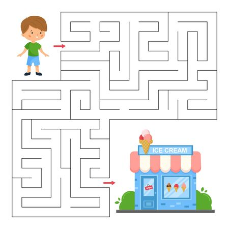 Maze game for children. Help the boy find right way to the ice cream shop. Kawaii cartoon vector illustration.