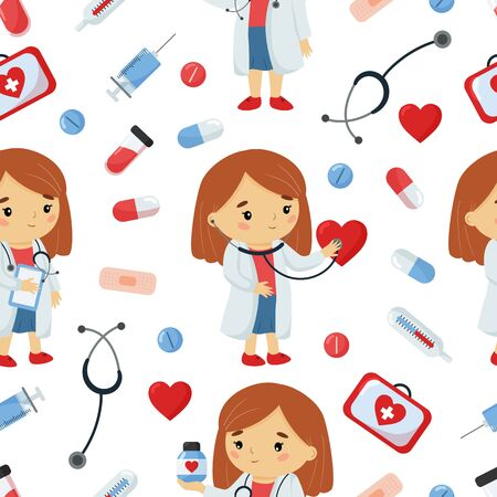 Vector childish seamless pattern of cartoon doctor with medical tools. Kawaii character. About healthcare for kids. Çizim