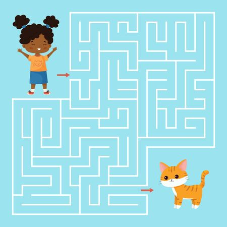 Educational maze game for preschool kids. Help the girl find right way to her cat. Kawaii cartoon vector characters. Worksheet for preschoolers.
