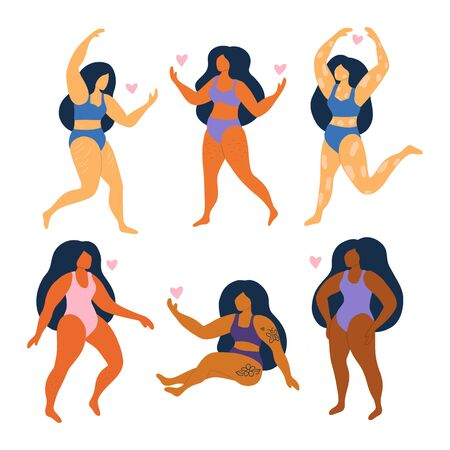 Set of abstract women in swimsuits. Plus size girls. Different races and nationalities. Body positive. Females with overweight, vitiligo, cellulite, hair on legs and stretch marks. Vector illustration