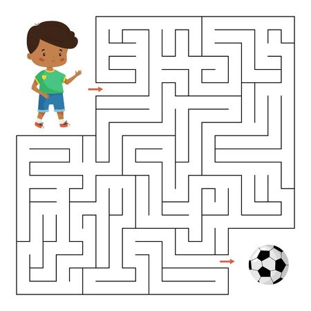 Educational maze game for preschool kids. Help the boy find right way to his football ball. Labyrinth for children. Cute cartoon vector characters.
