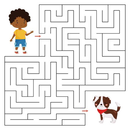 Vector maze game for children. Help the boy find right way to his dog. Educational labyrinth for preschoolers. Worksheet for kindergarten. Cute cartoon vector character.