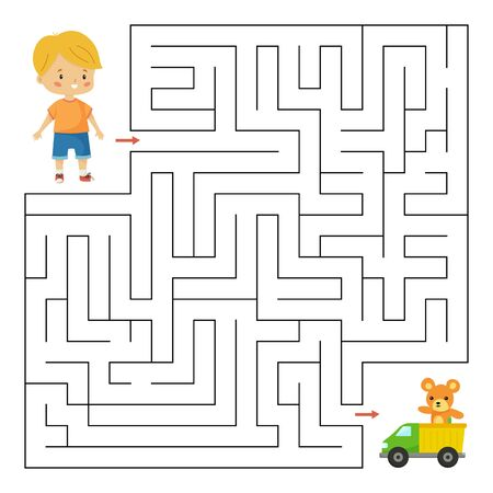 Maze game for preschool children. Help the boy find right way to his toys. Cute kawaii vector characters. Worksheet for kids. Çizim