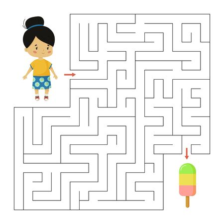 Maze game for children. Educational worksheet. Help the girl find right way to ice cream. Summer vector illustration.