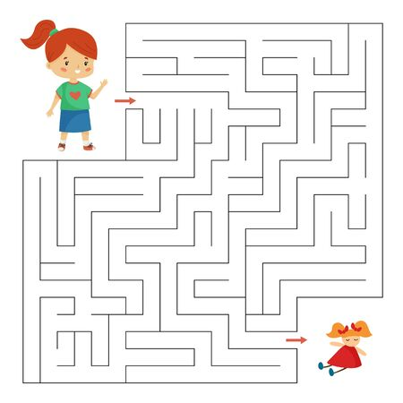 Help the girl find right way to her doll. Children toys. Maze game for preschool kids. Cute cartoon vector characters.