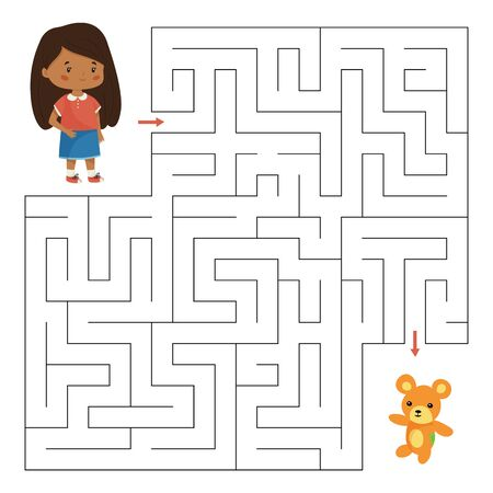 Vector labyrinth game. Help the girl find right way to her teddy bear. Educational maze for children. Kawaii cartoon characters.