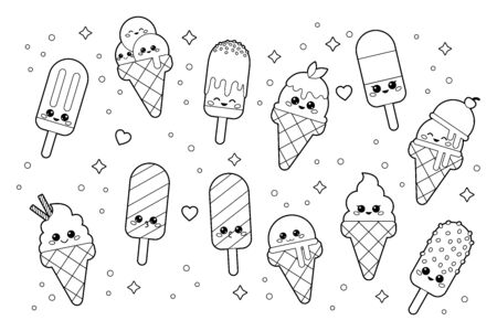 Cute kawaii set of ice creams. Coloring page for adults and children. Cartoon vector characters. Black and white illustration. Çizim