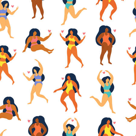 Vector seamless pattern on white background. Cute women in swimsuit and bikini. Body Positive. Everybody is beachbody. Summer illustration. Çizim
