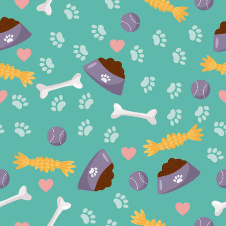 Vector seamless pattern. Objects for dog care - bowl with dog food, toys and bone. Puppy paws wallpaper on blue background.