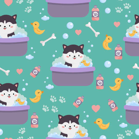 Vector childish seamless pattern of cute cartoon Siberian Husky. Dog is washing in bath with yellow duck toy. Domestic dogs on blue background. Çizim