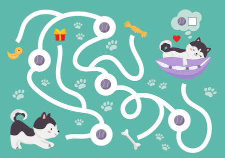 Educational maze game for preschool kids. Cute cartoon Siberian Husky is finding balls. Count and write number. Kawaii vector pet character.