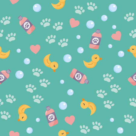 Vector seamless pattern of objects for washing. Cute cartoon yellow duck for bath, bubbles and paws. Pet wash and grooming. Illustration on blue background.