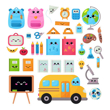 Back to school vector kawaii set for children. Educational clipart objects with kawaii face. Funny cartoon characters. Cute backpacks, pencils, apple, book,notebook and school bus.