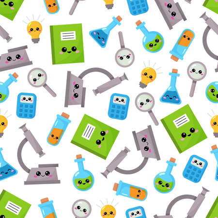 Educational cartoon seamless pattern. Kawaii characters - microscope, flasks, calculator, magnifier with funny faces. Chemistry lessons. Back to school.