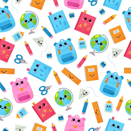 Kawaii childish seamless pattern. Back to school. Funny cartoon backpack, pencil, globe, scissors, glue, eraser and ruler. Vector educational objects with faces.