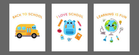 Vector back to school cards on white background. School cards with education supplies. Kawaii cartoon characters - school bus, backpack, globe, pencil, microscope, flasks. Learning is fun. Çizim