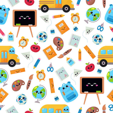 Childish seamless pattern with education supplies. Back to school. Vector kawaii cartoon character - backpack, globe, ruler, pencil, chalk board, school bus. Çizim